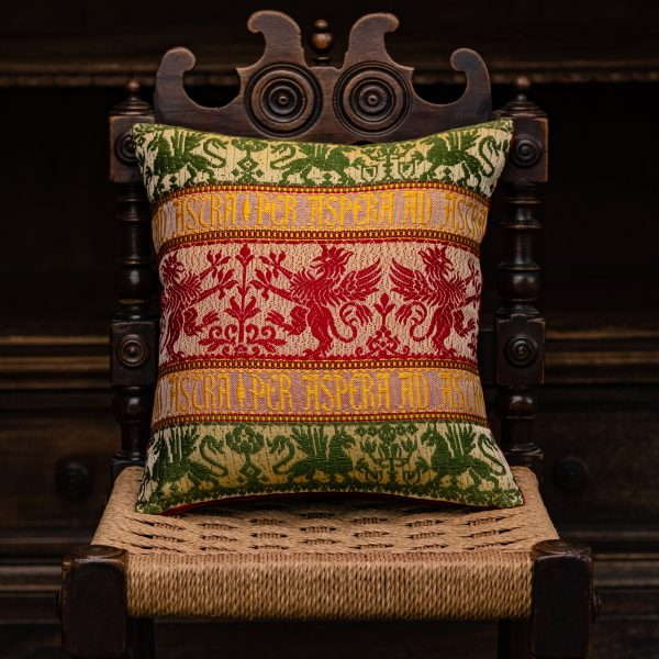"Cotton and velvet ""Griffin"" cushion - Cotton, Cushions"