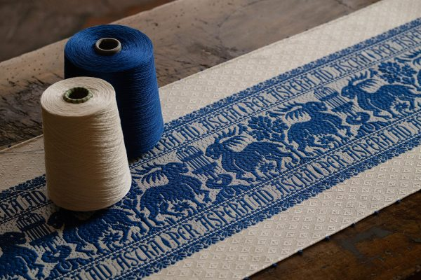 """Ivory blue pure cotton table runner """"Deer with Fountain"""" - Cotton, Table runners"""