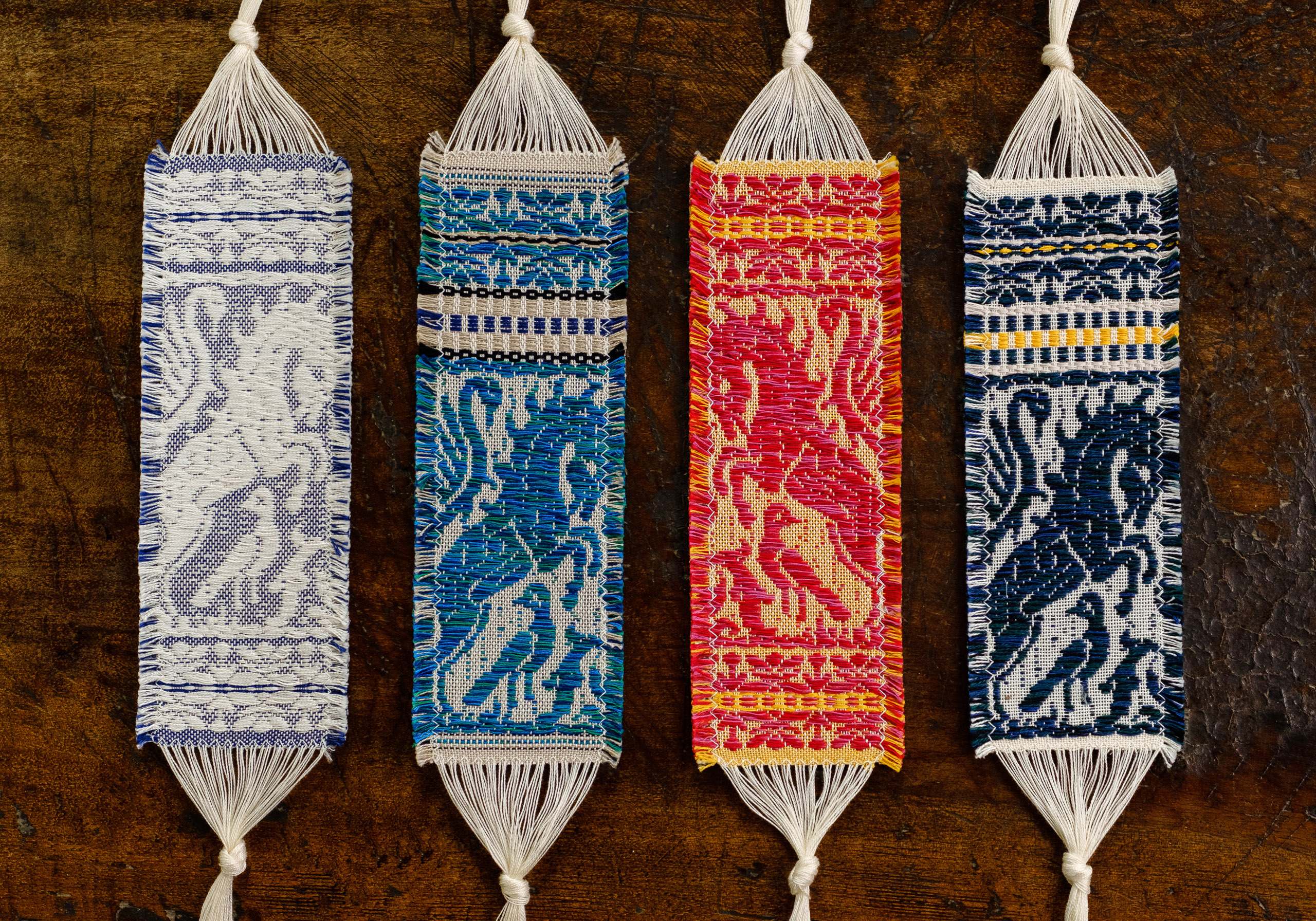 "Damask cotton bookmark ""Peacocks"" - Bookmark, Cotton"